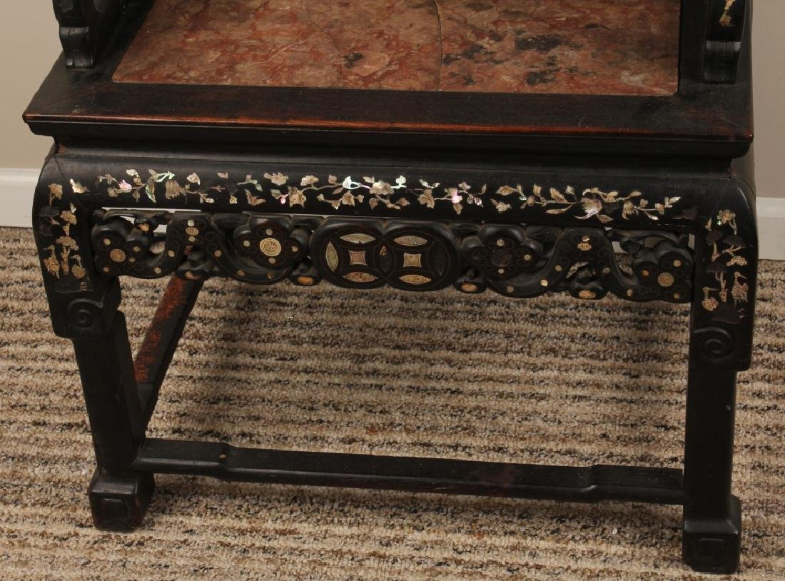 19th C. CHINESE CARVED WOOD MARBLE INLAID CHAIR - 3