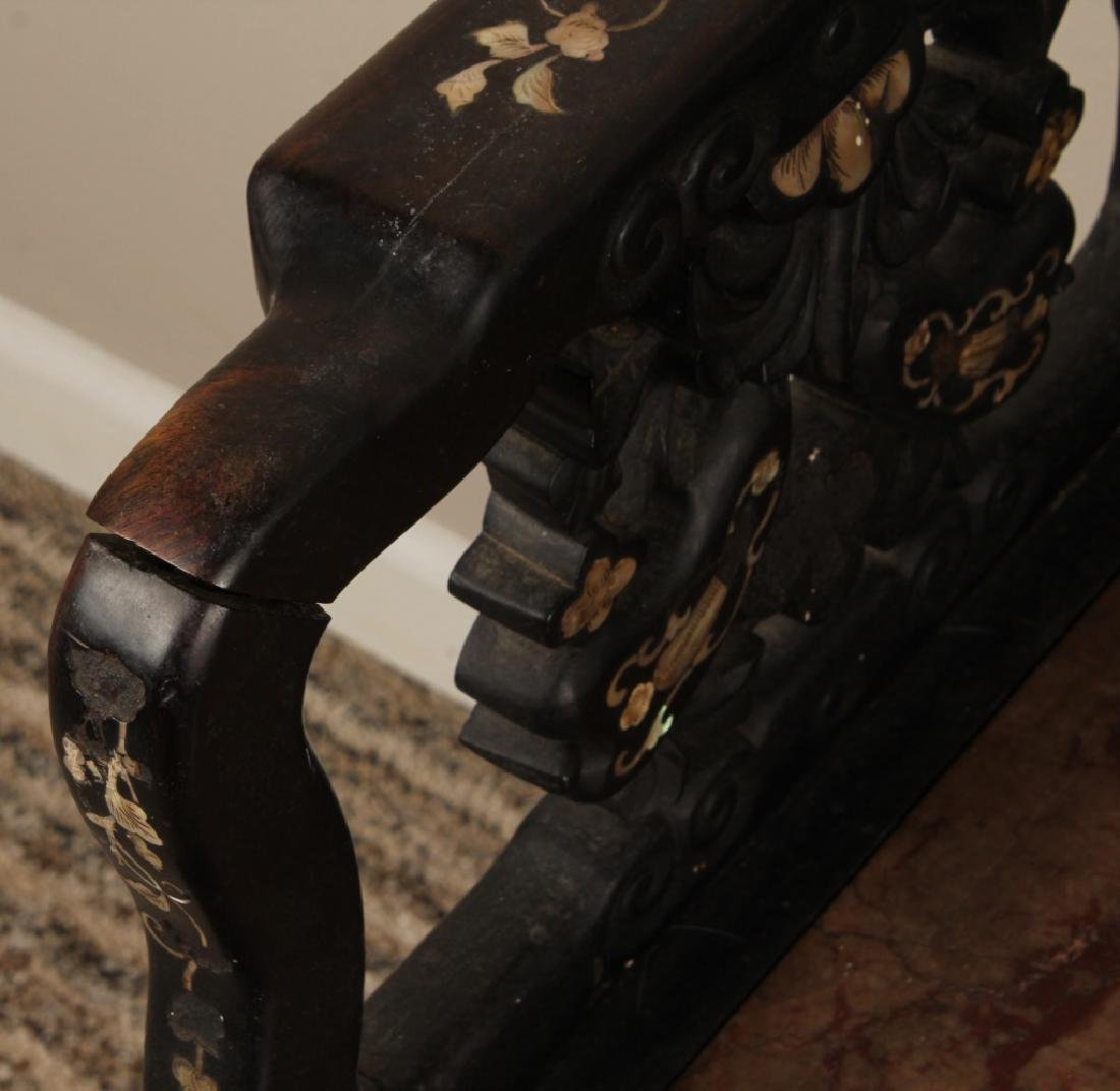 19th C. CHINESE CARVED WOOD MARBLE INLAID CHAIR - 4