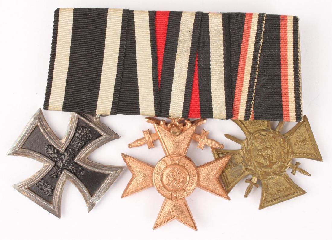 WWI GERMAN THREE BAR MEDAL WITH RIBBONS