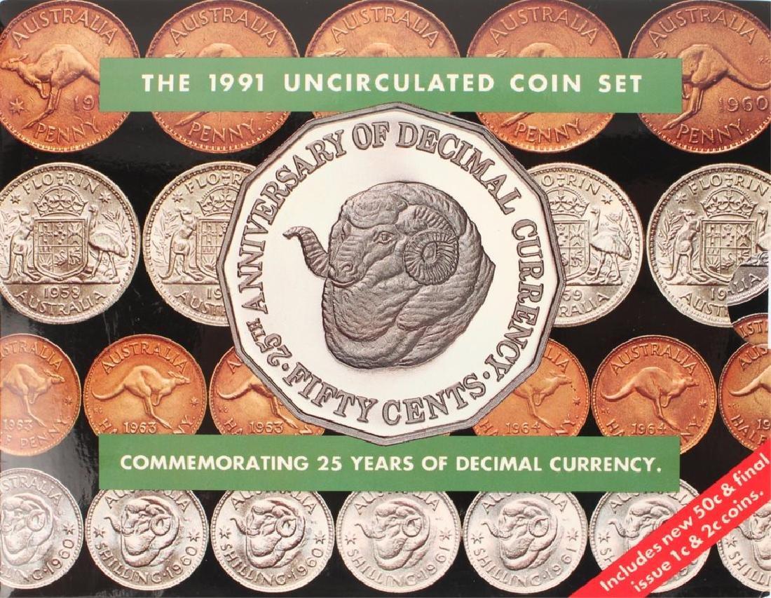 1991 AUSTRALIAN UNC COIN SET HONORING 25 YEARS