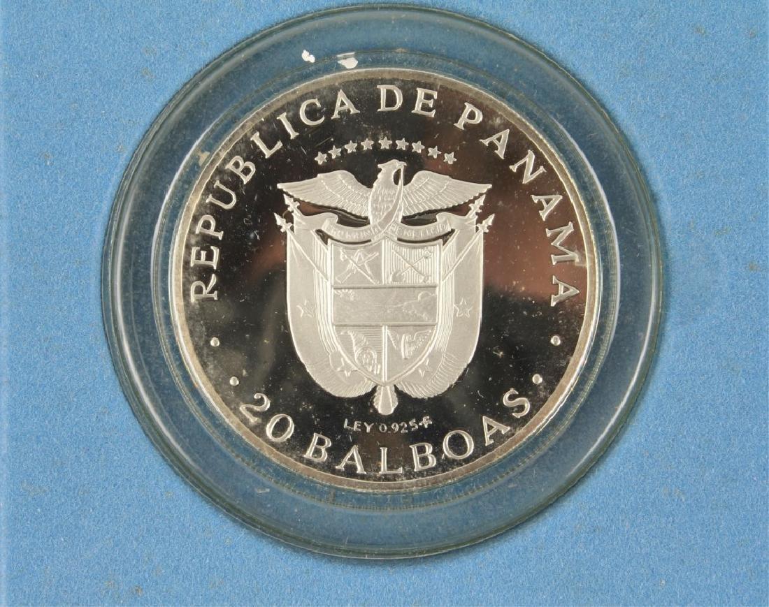1973 SIMON BOLIVAR PANAMA 20 BALBOAS SILVER COIN - 3
