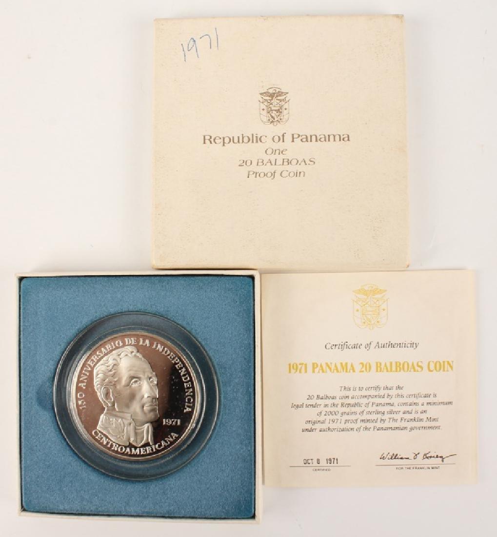 1971 SIMON BOLIVAR PANAMA 20 BALBOAS SILVER COIN