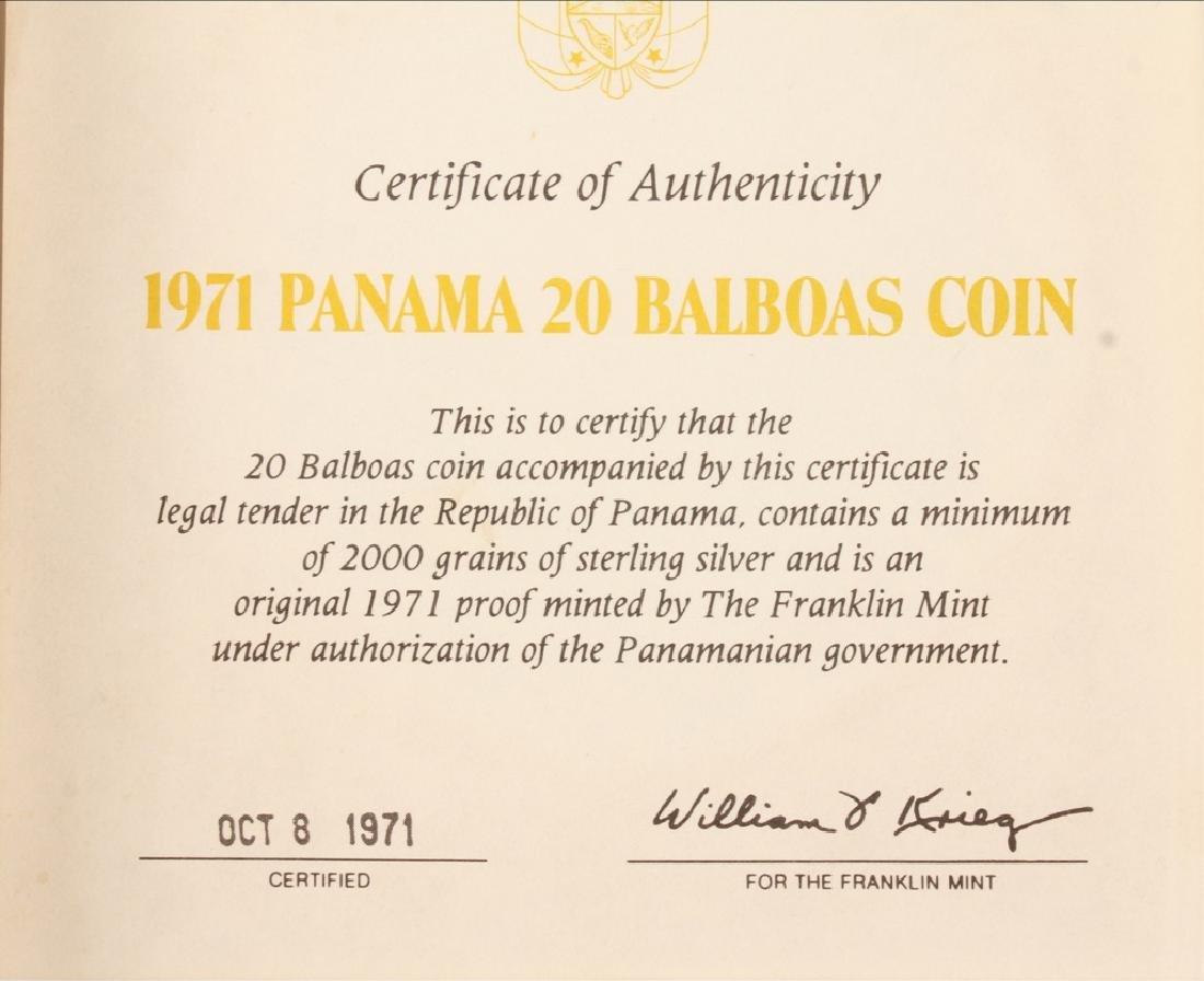 1971 SIMON BOLIVAR PANAMA 20 BALBOAS SILVER COIN - 3