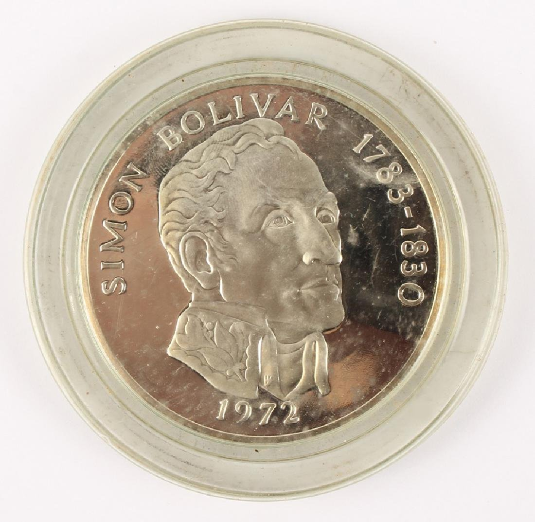 1973 SIMON BOLIVAR PANAMA 20 BALBOAS SILVER COIN