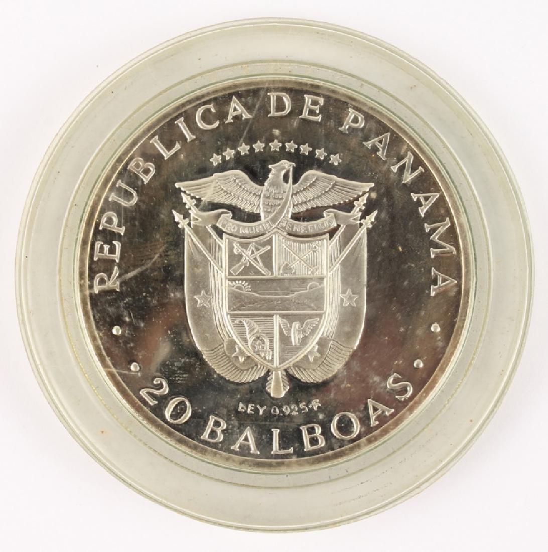1973 SIMON BOLIVAR PANAMA 20 BALBOAS SILVER COIN - 2