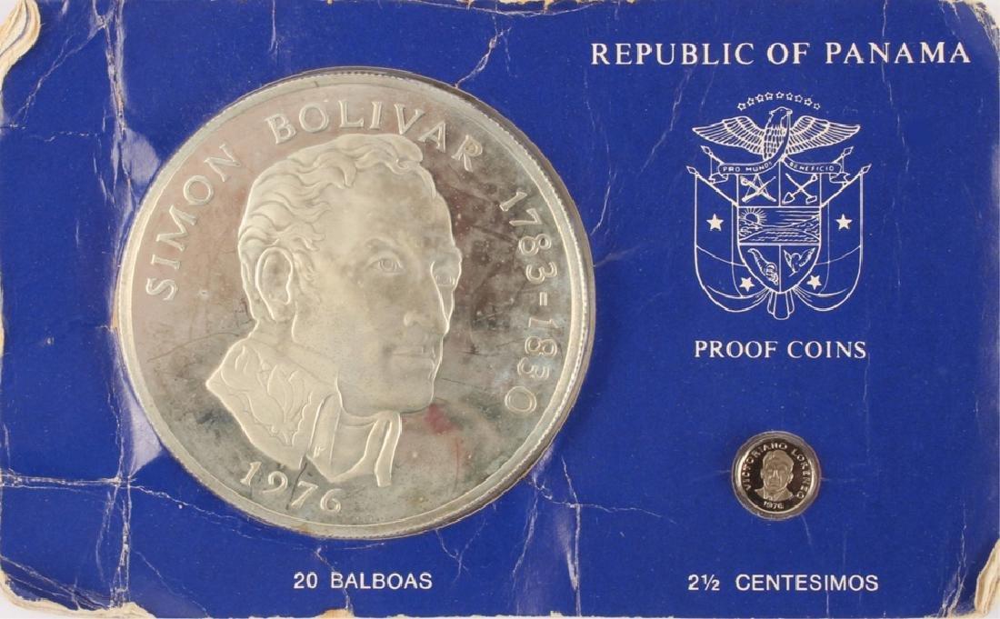 1976 SIMON BOLIVAR PANAMA 20 BALBOAS SILVER COIN
