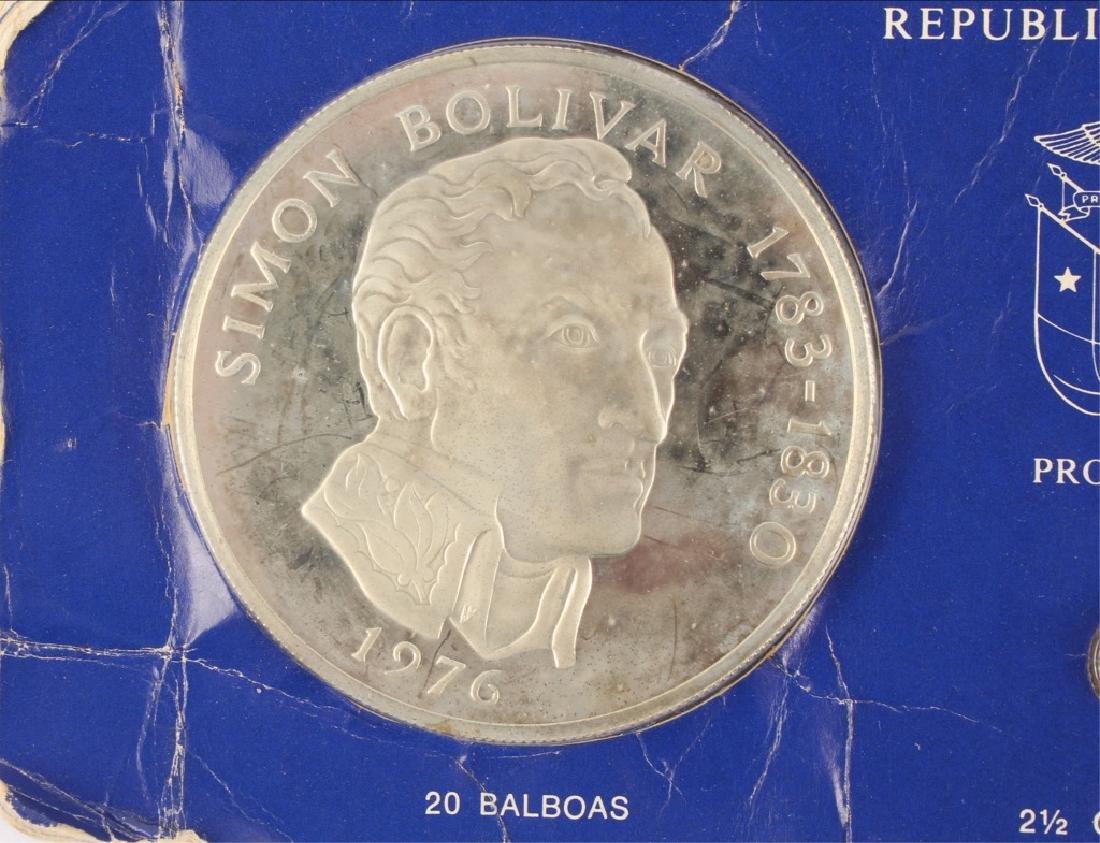 1976 SIMON BOLIVAR PANAMA 20 BALBOAS SILVER COIN - 2