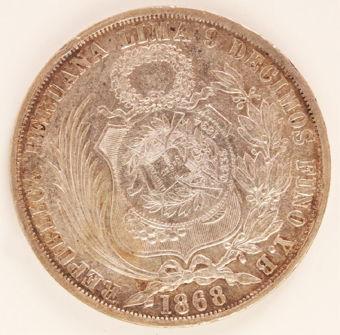 1868 COUNTERSTAMPED PERU GUATEMALA SILVER UN SOL