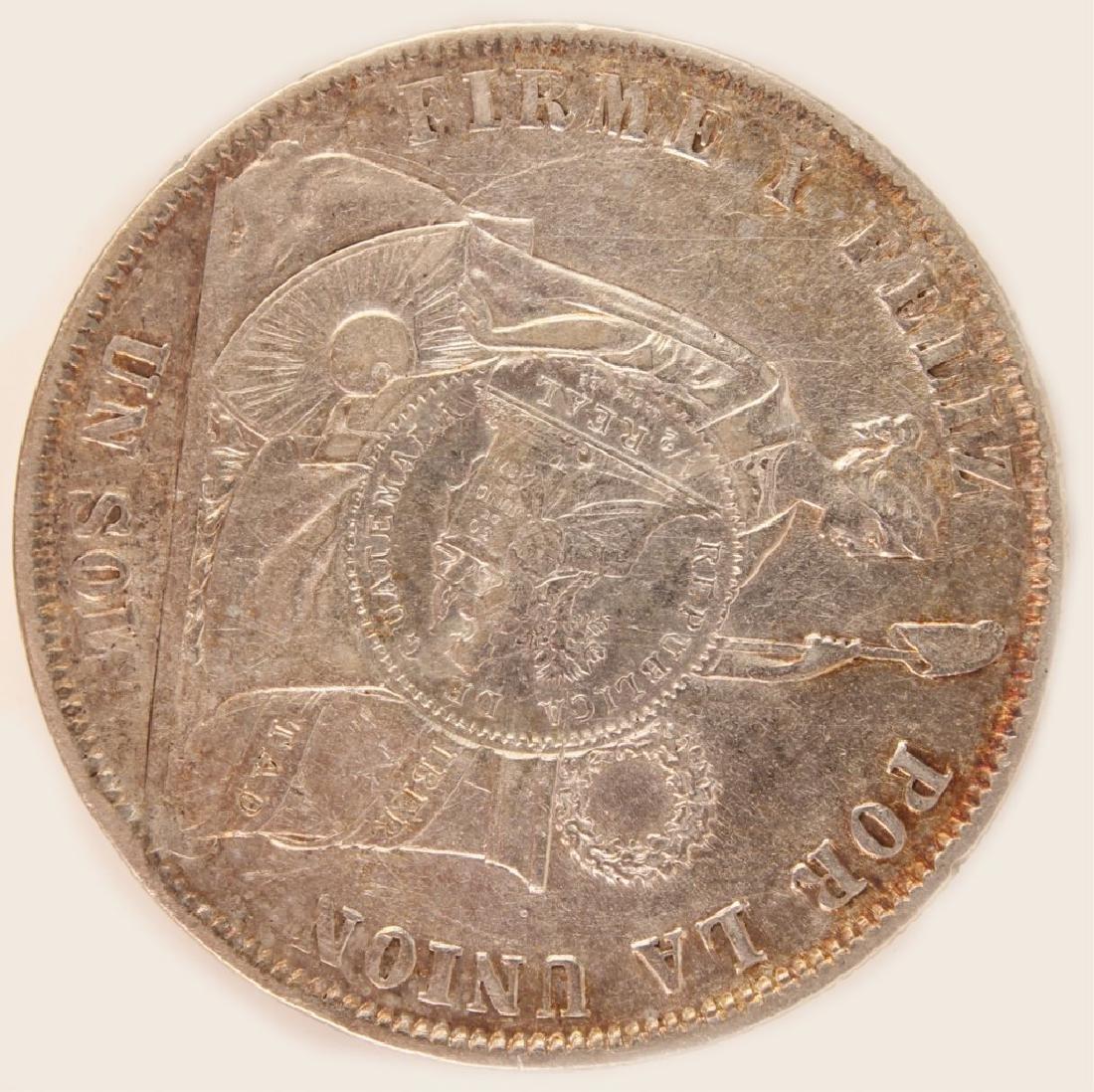 1868 COUNTERSTAMPED PERU GUATEMALA SILVER UN SOL - 2