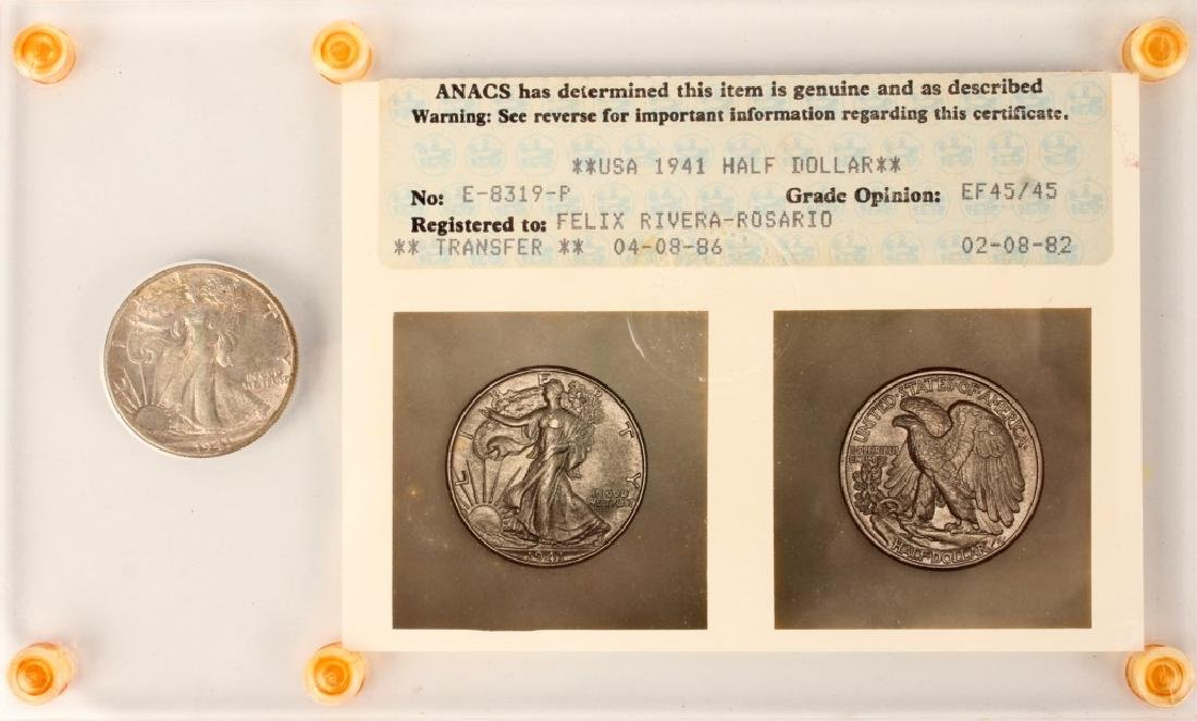 1941 WALKING LIBERTY SILVER HALF DOLLAR  ANACS