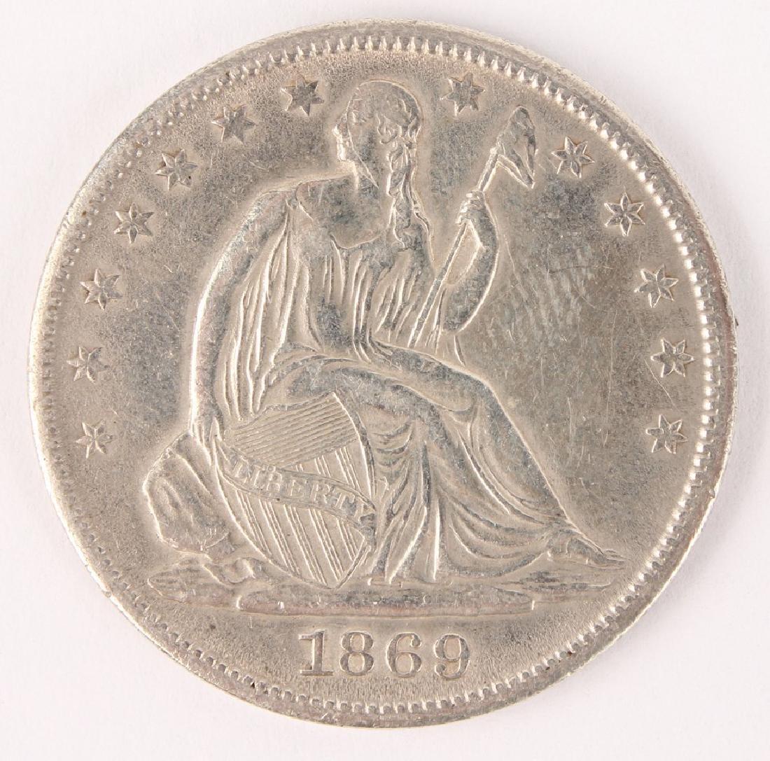 1869 S SEATED LIBERTY SILVER HALF DOLLAR