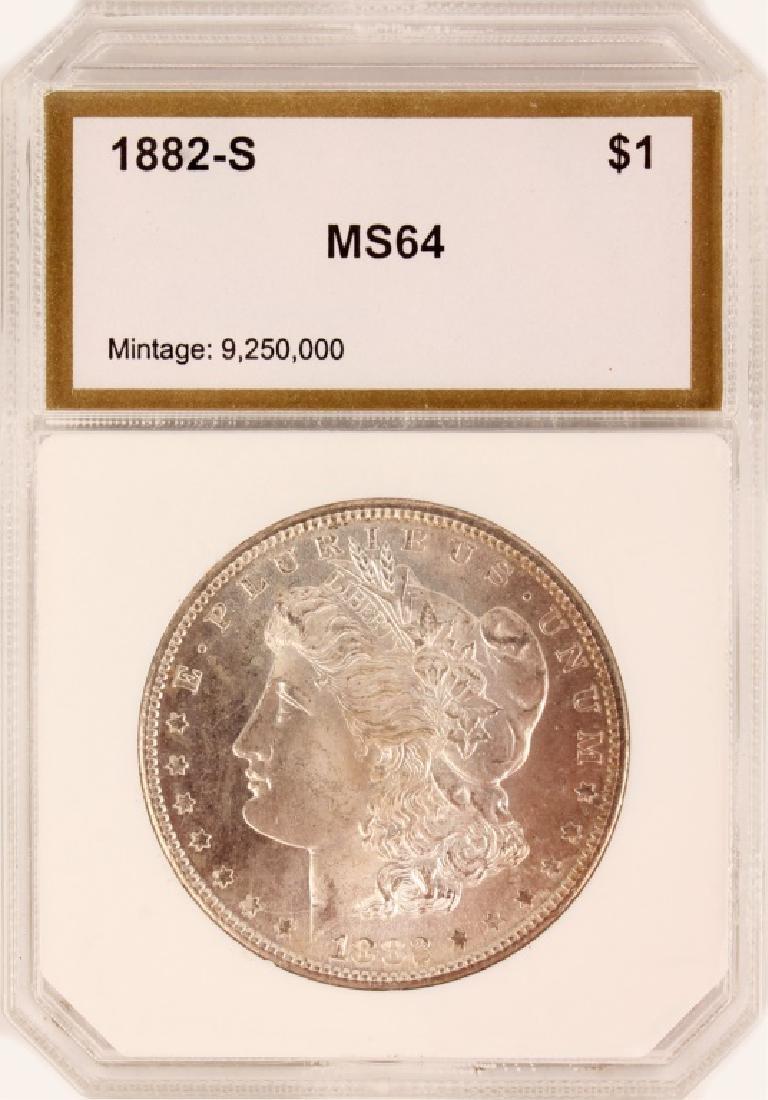 1882 S SILVER MORGAN ONE DOLLAR COIN