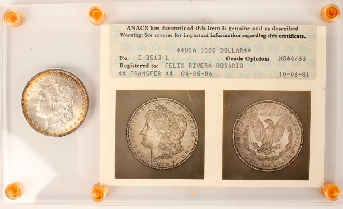 1880 PHILADELPHIA MORGAN SILVER DOLLAR  ANACS