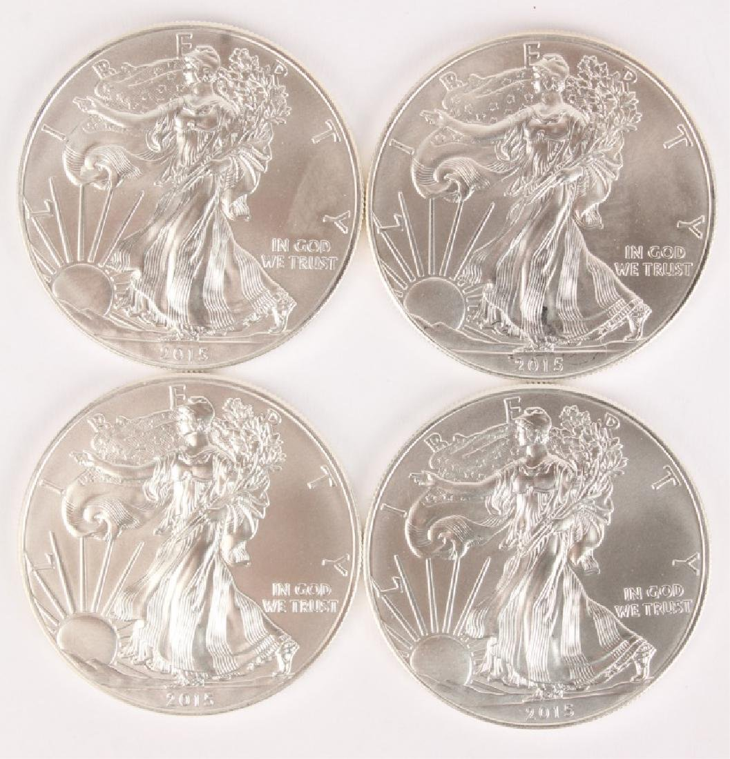 4 UNITED STATES 2015 AMERICAN SILVER EAGLES