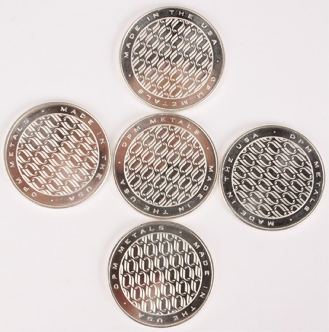 LOT OF 5 OPM METALS ONE TROY OUNCE SILVER ROUNDS