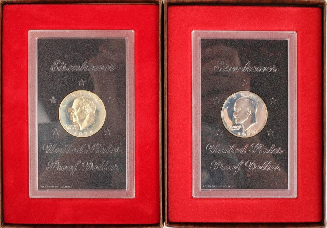 TWO 1972 EISENHOWER SILVER DOLLARS IN BROWN BOXES