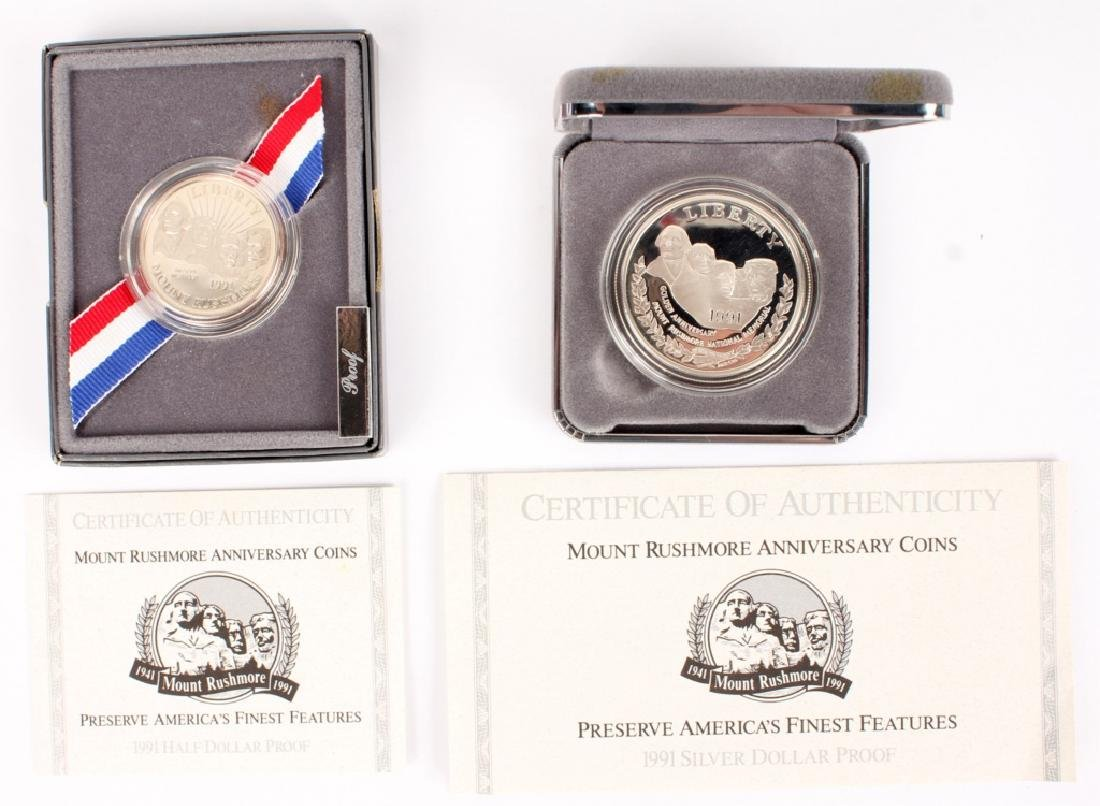 TWO 1991 SILVER PROOF US MOUNT RUSHMORE COINS