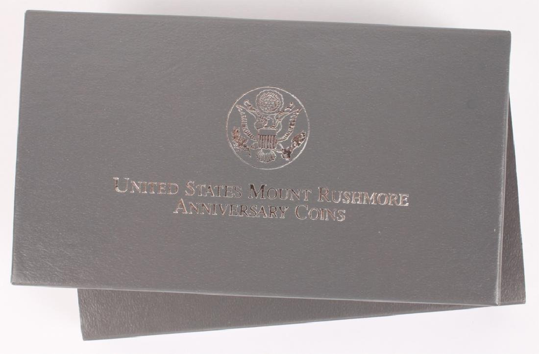 TWO 1991 SILVER PROOF US MOUNT RUSHMORE COINS - 2