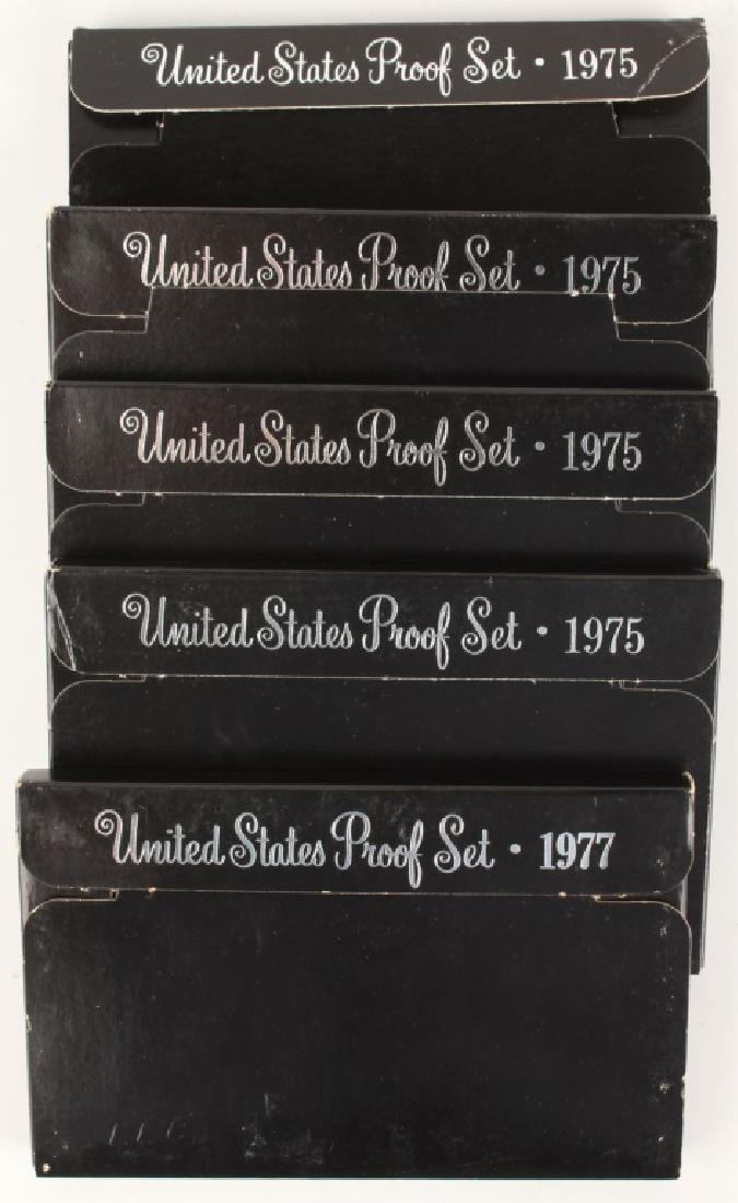 FIVE SETS OF U.S. PROOF COINS FROM 1975 AND 1977