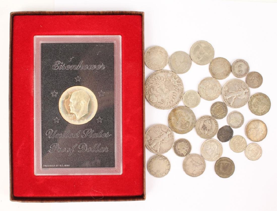MIXED LOT OF SILVER WORLD COINAGE
