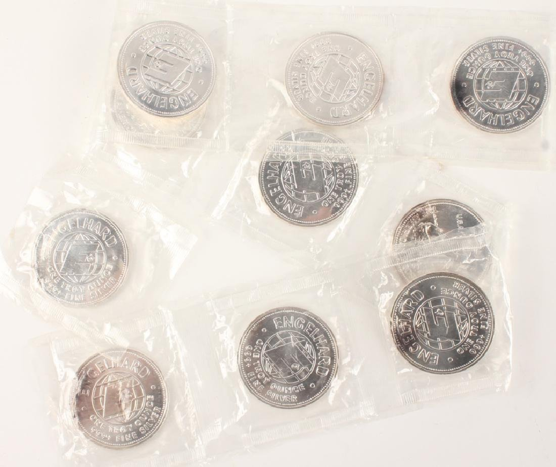 .999 SILVER 1 OZT ENGELHARD ROUNDS - LOT OF 10