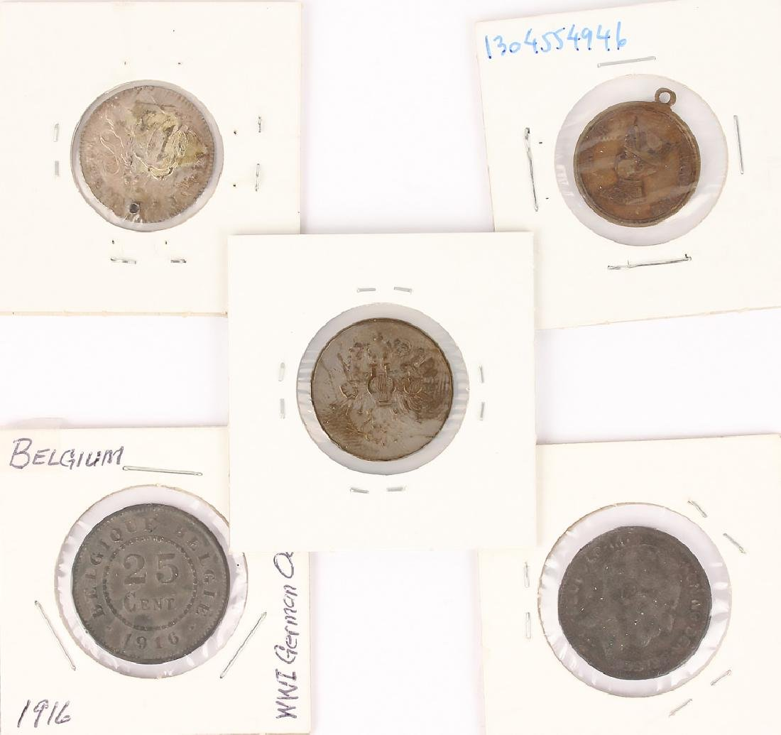 MIXED 19TH & 20TH CENTURY FOREIGN COINS - LOT OF 5