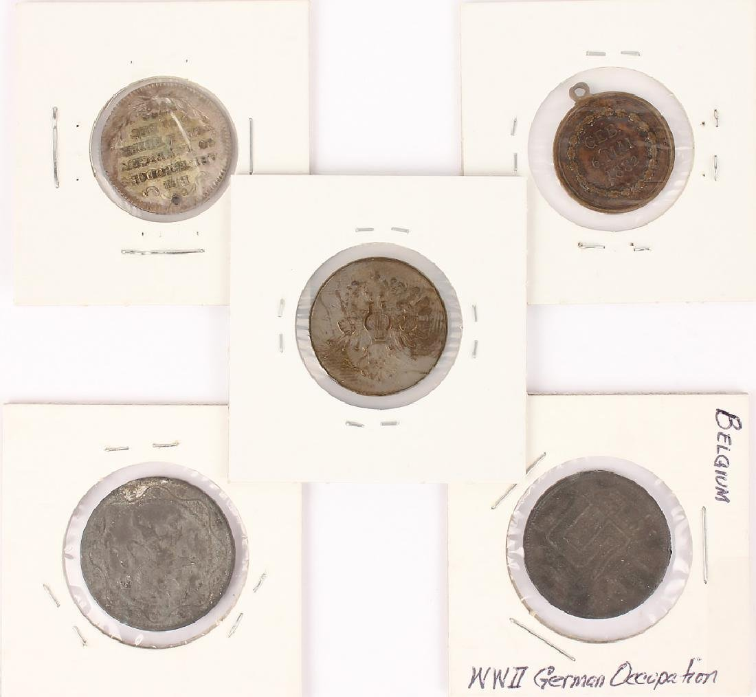 MIXED 19TH & 20TH CENTURY FOREIGN COINS - LOT OF 5 - 2