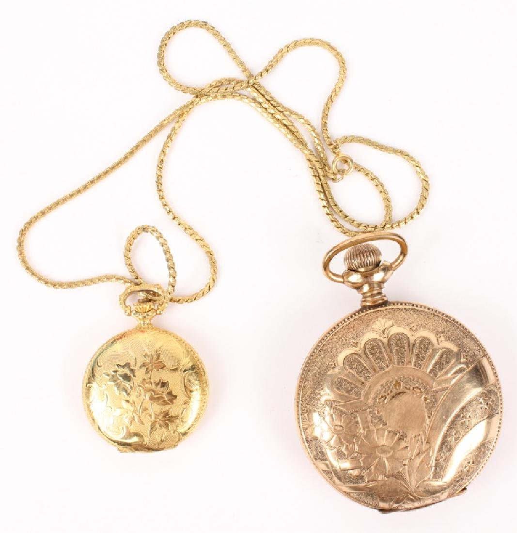 GOLD FILLED & GOLD PLATED POCKET WATCHES LOT OF 2