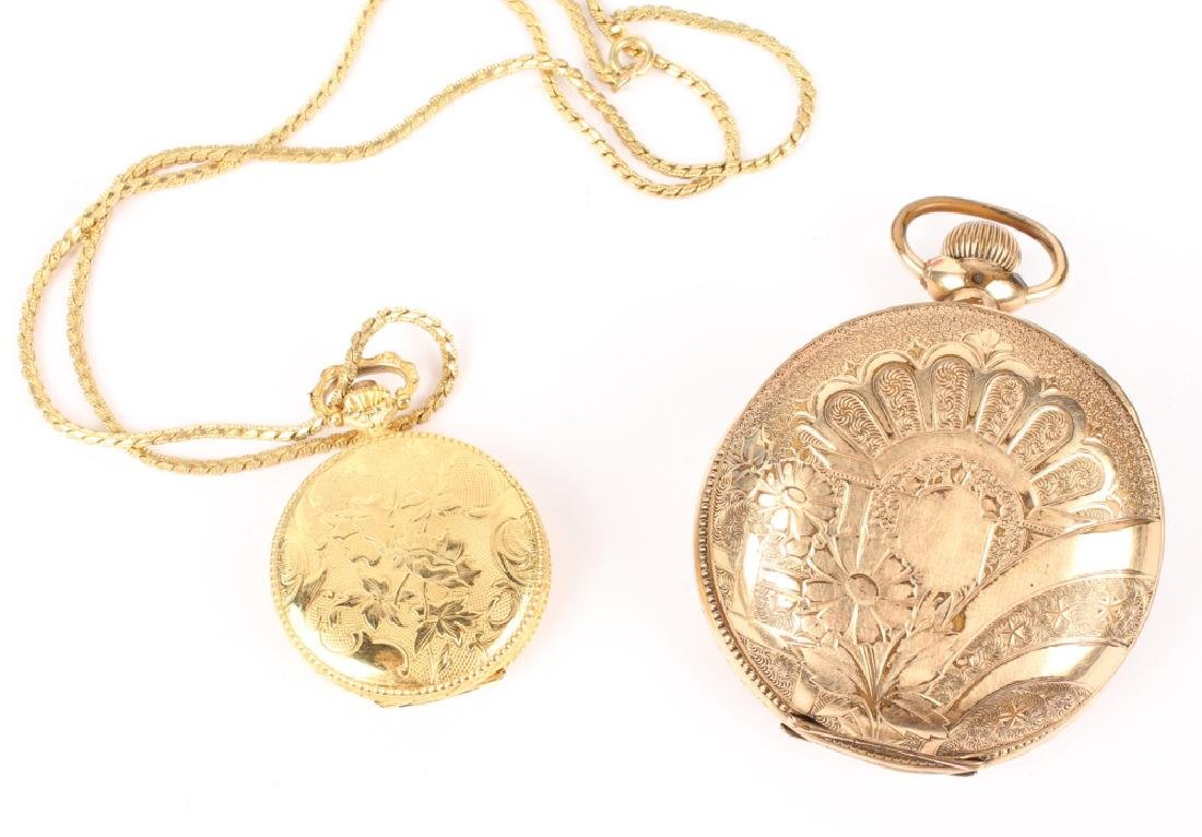 GOLD FILLED & GOLD PLATED POCKET WATCHES LOT OF 2 - 2