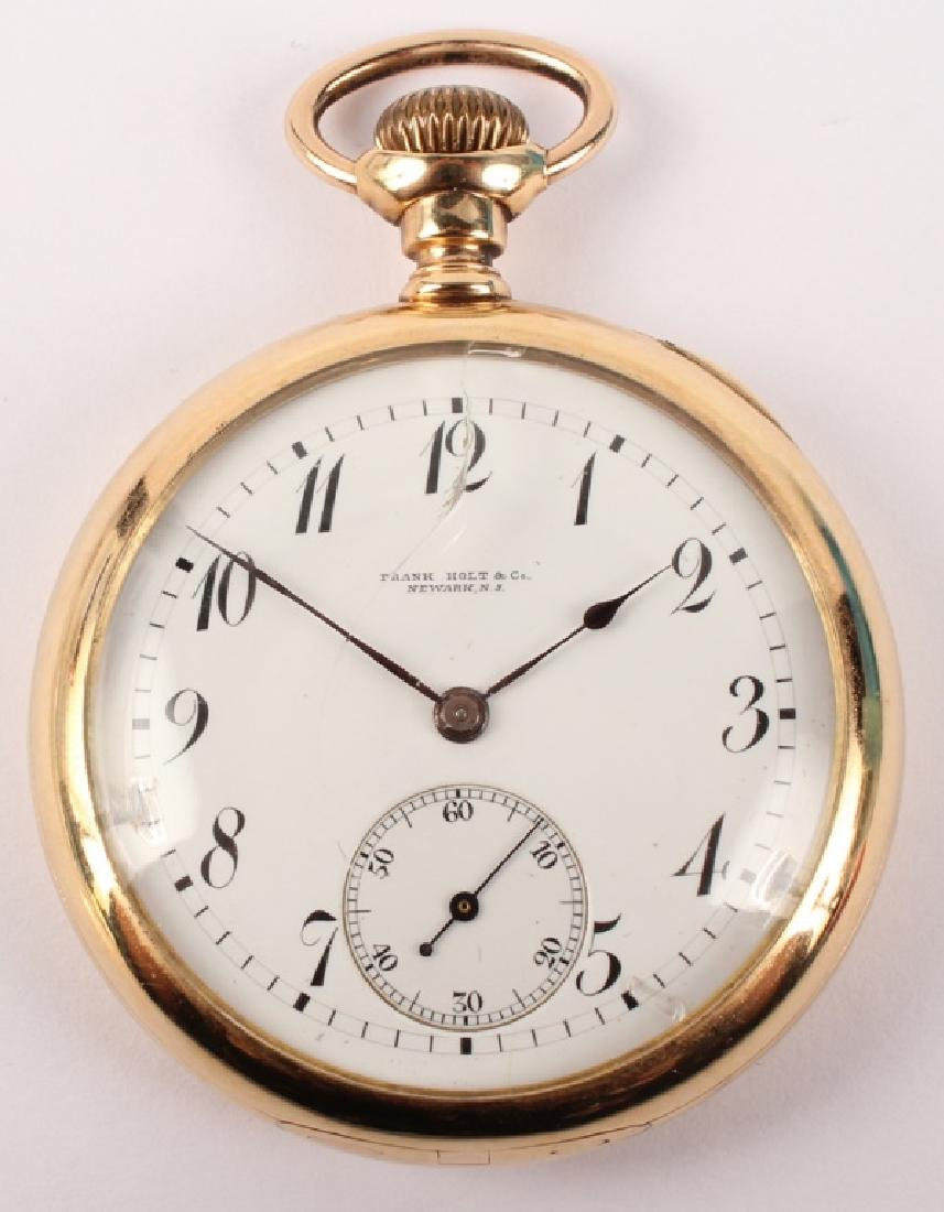 14K YELLOW GOLD FRANK HOLT & CO POCKET WATCH