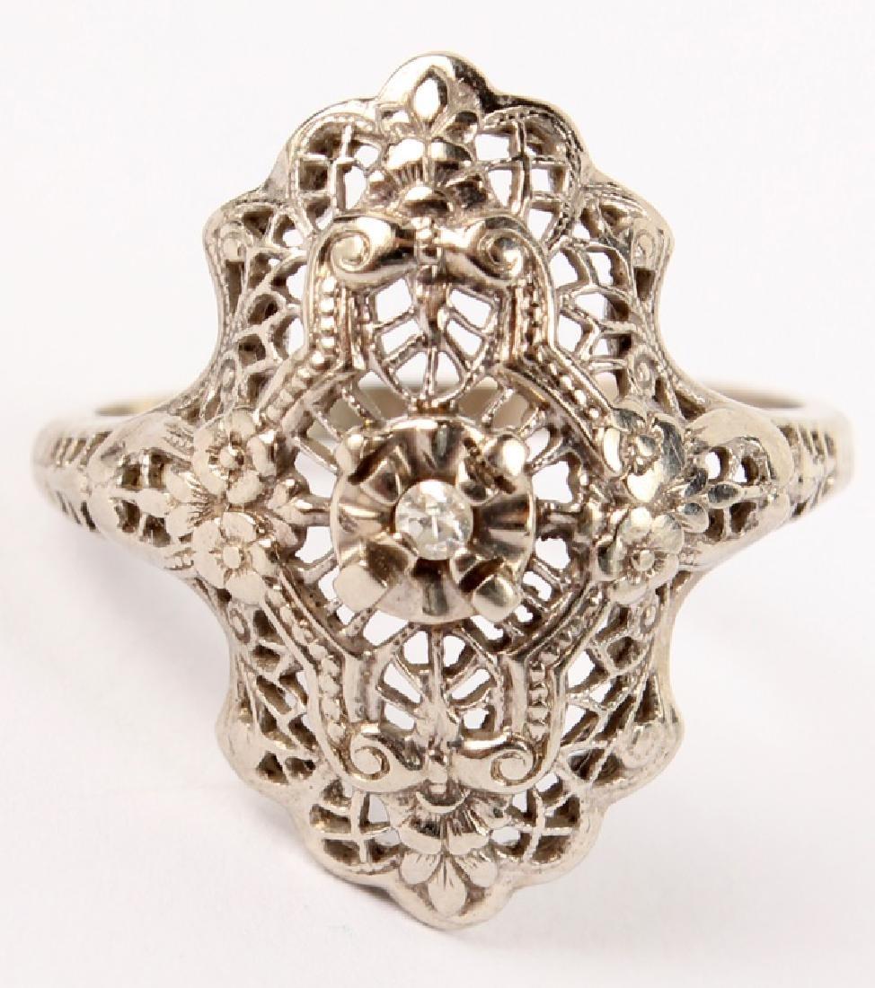 LADIES 10K WHITE GOLD DIAMOND FILIGREE RING