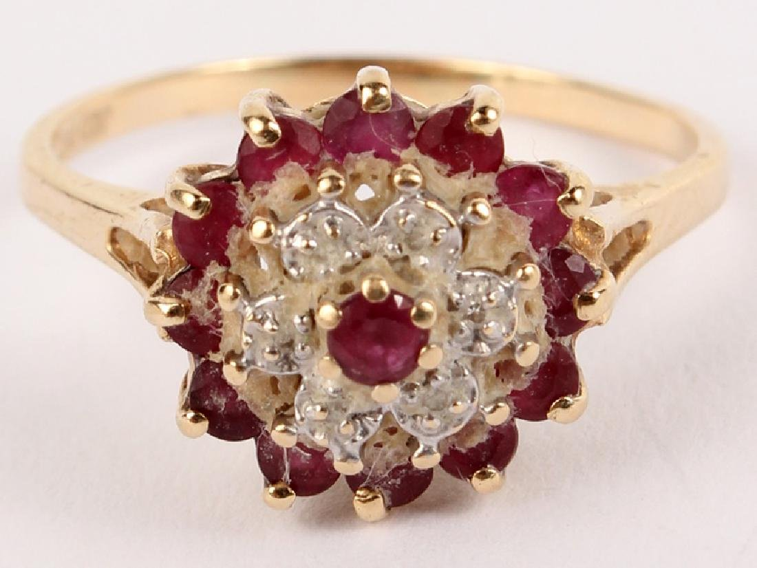 10K YELLOW GOLD DIAMOND RUBY FASHION RING