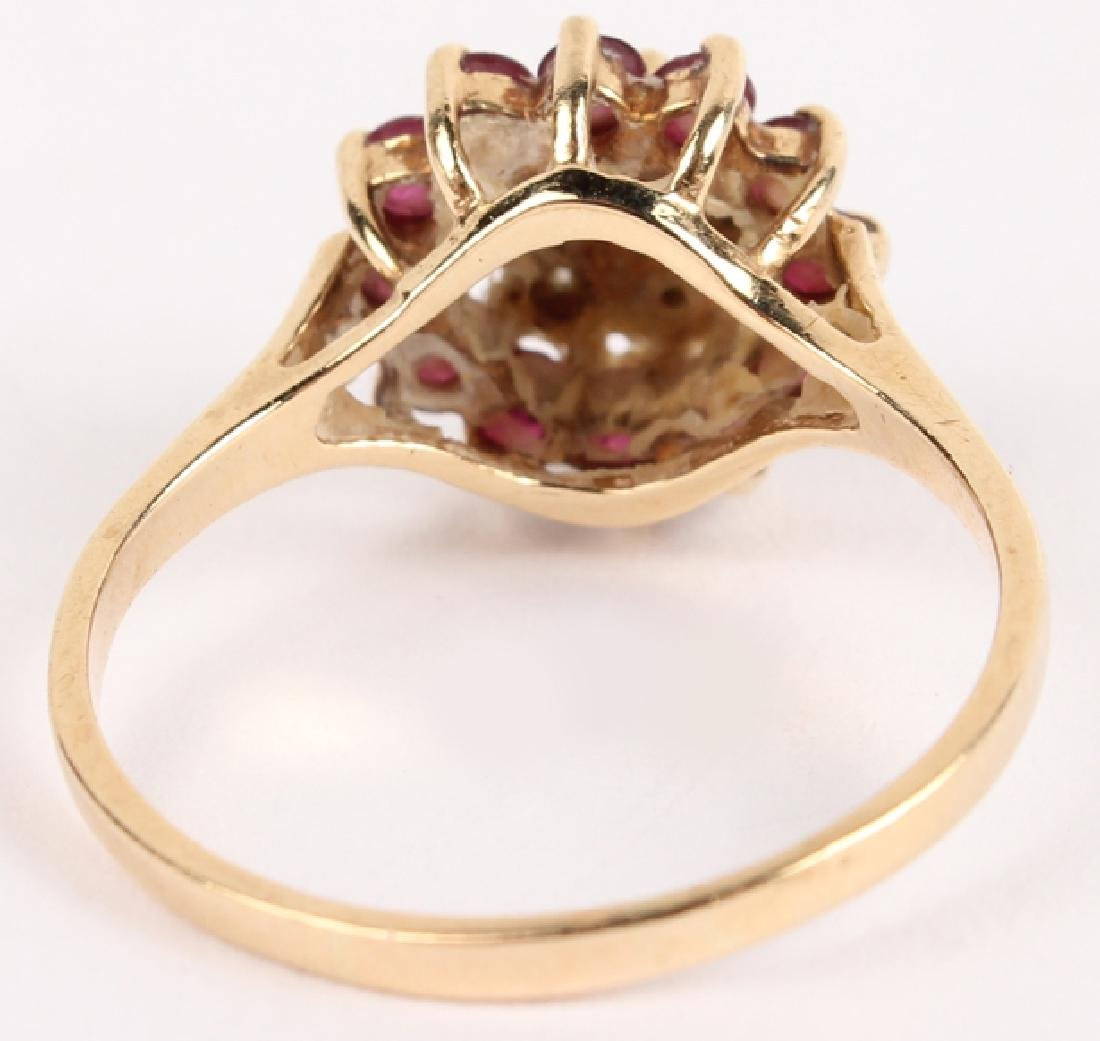 10K YELLOW GOLD DIAMOND RUBY FASHION RING - 3