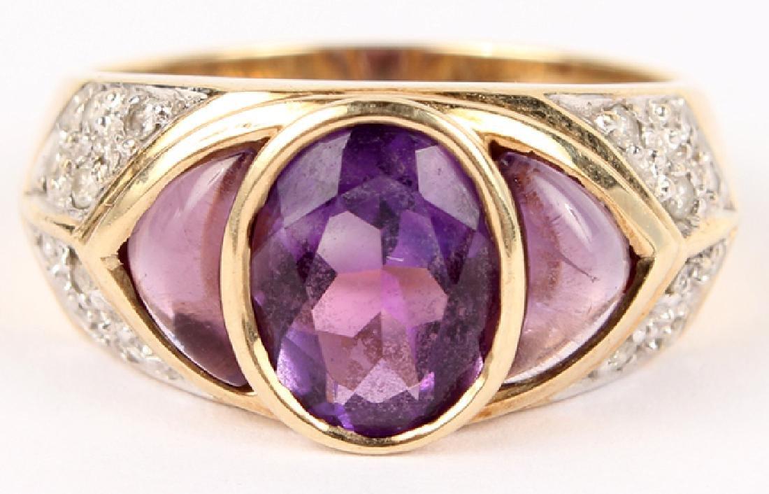 LADIES 10K YELLOW GOLD DIAMOND AMETHYST RING