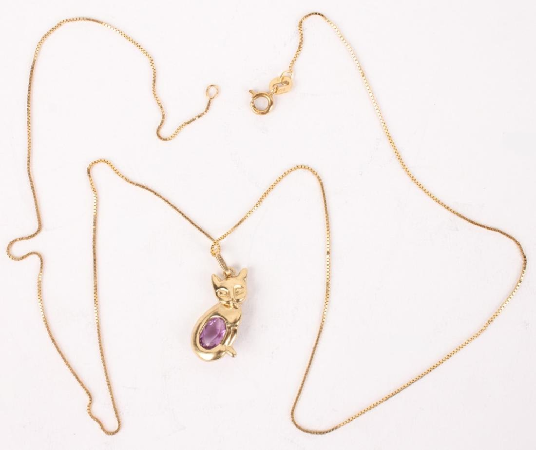 LADIES 14K YELLOW GOLD AMETHYST CAT NECKLACE