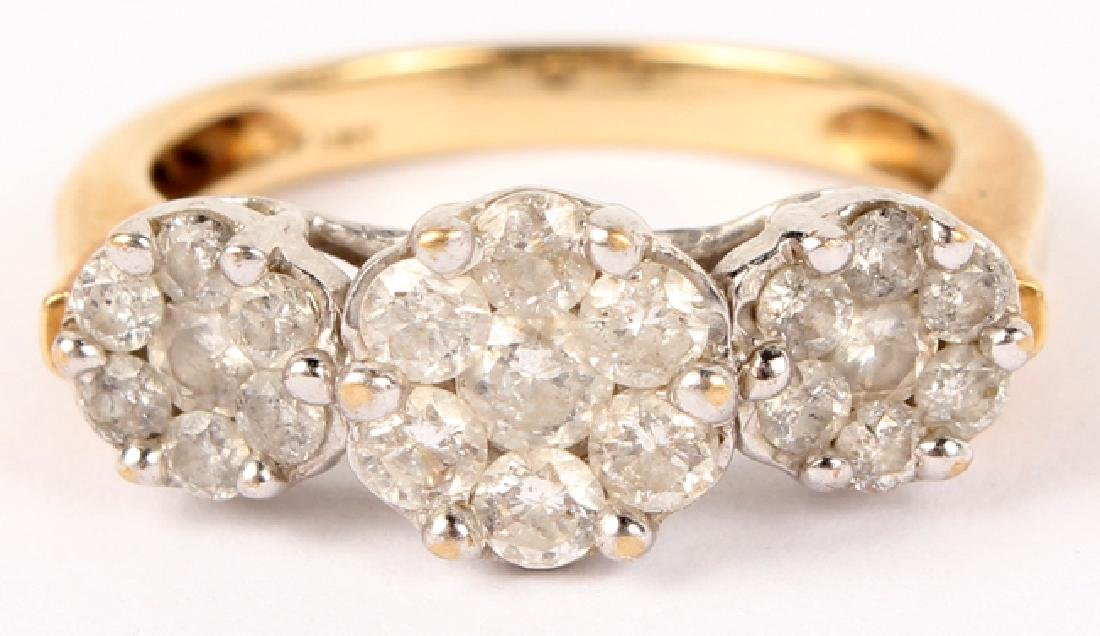 LADIES 10K YELLOW GOLD DIAMOND CLUSTER RING