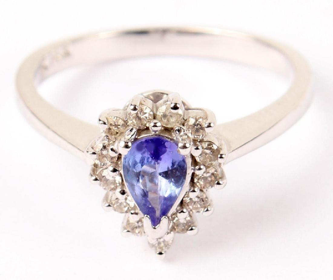 LADIES 14K WHITE GOLD TANZANITE DIAMOND RING