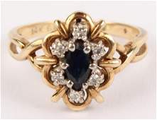 LADIES 14K YELLOW GOLD DIAMOND SAPPHIRE RING