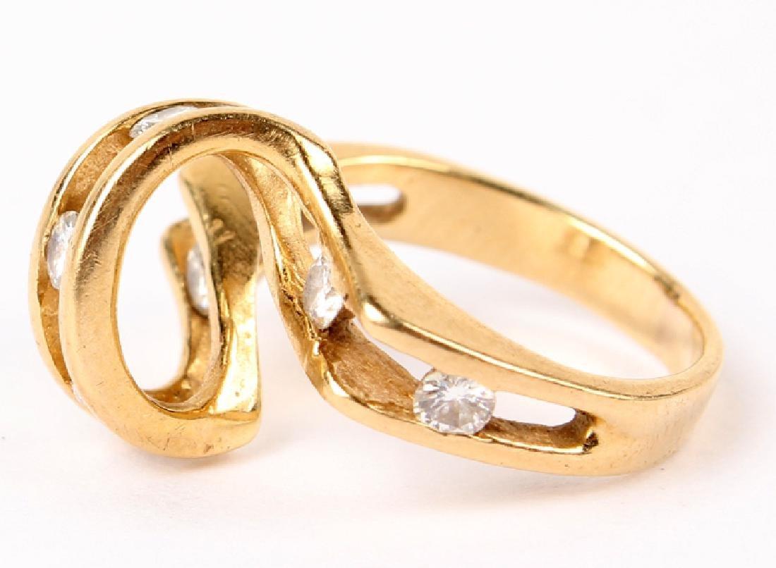 LADIES 14K YELLOW GOLD DIAMOND RING - 4