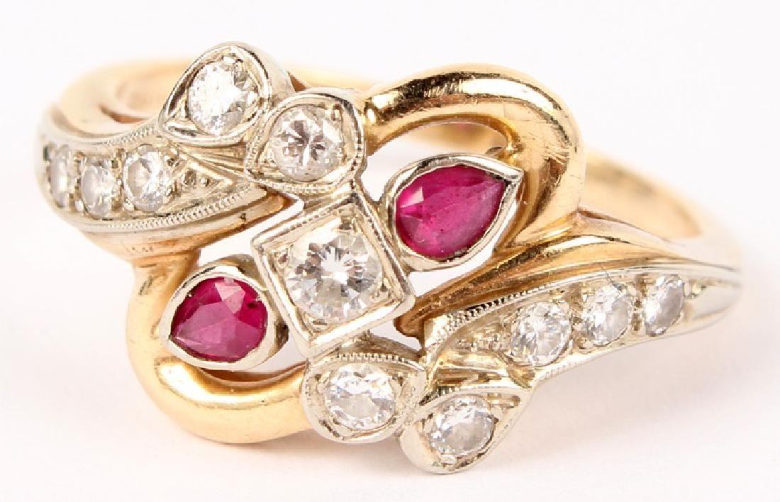 LADIES 14K YELLOW GOLD DIAMOND RUBY RING