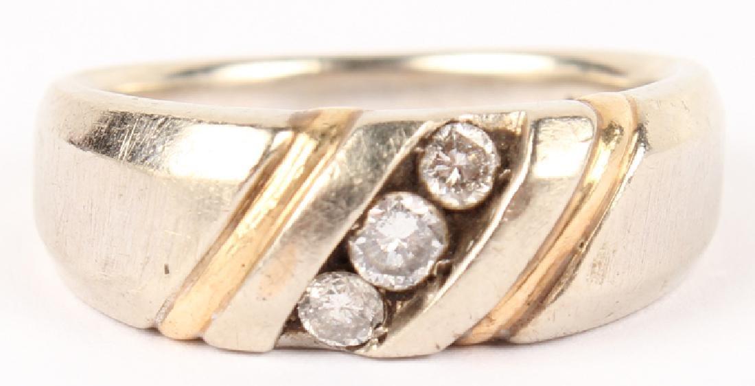 MENS 14K WHITE & YELLOW GOLD DIAMOND RING