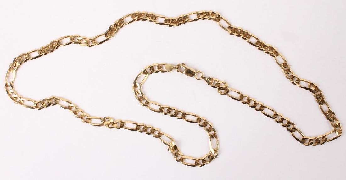 10K YELLOW GOLD FIGARO CHAIN LINK NECKLACE