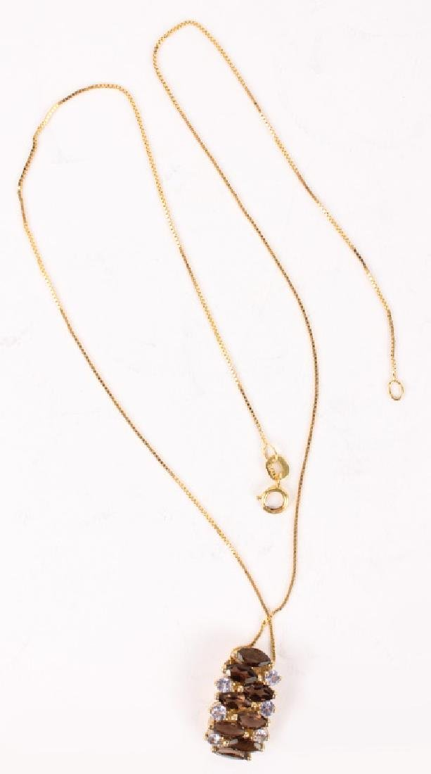 LADIES 14K YELLOW GOLD COLORED STONE NECKLACE