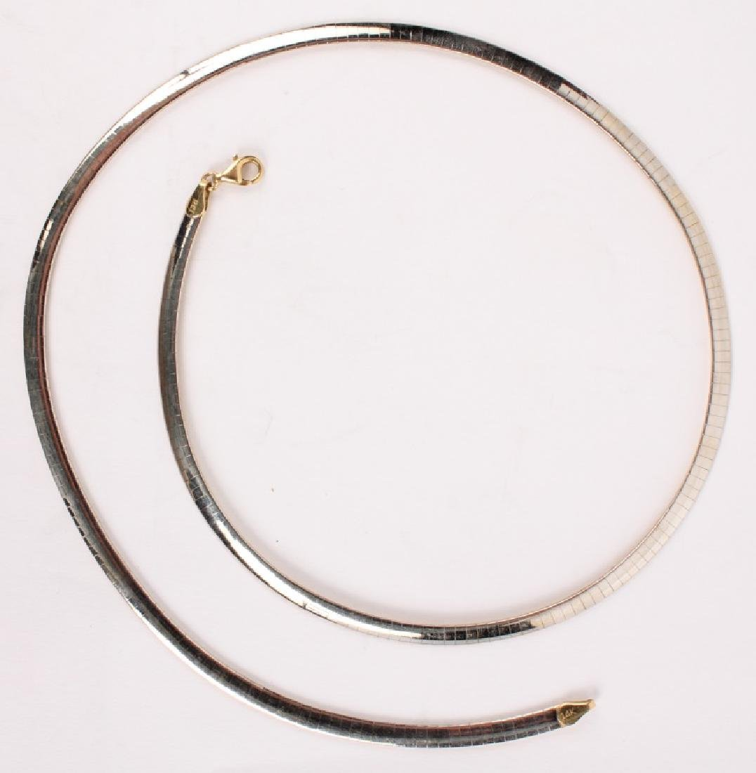 LADIES 14K GOLD TWO TONE OMEGA NECKLACE