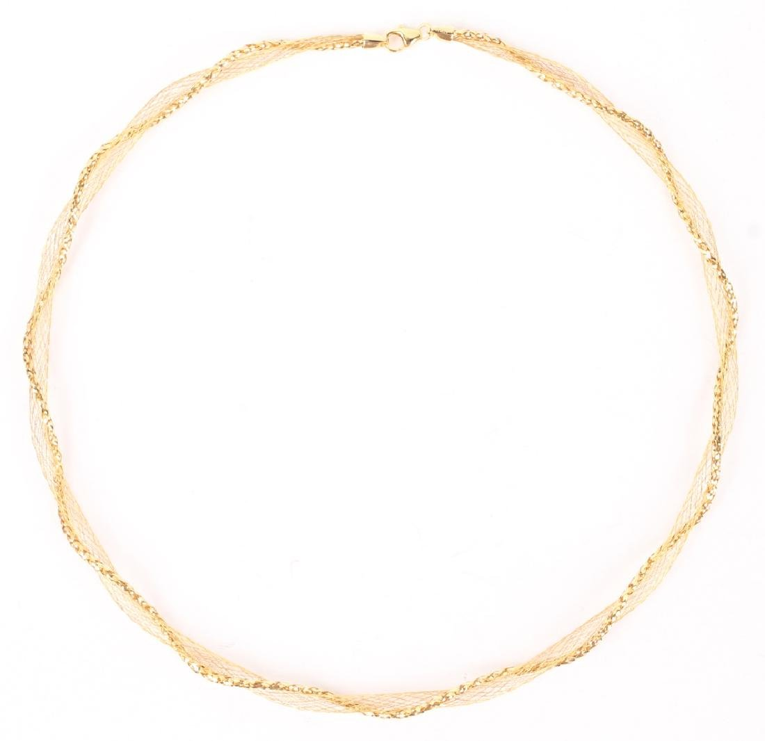 LADIES 14K YELLOW GOLD TWISTED DESIGN NECKLACE