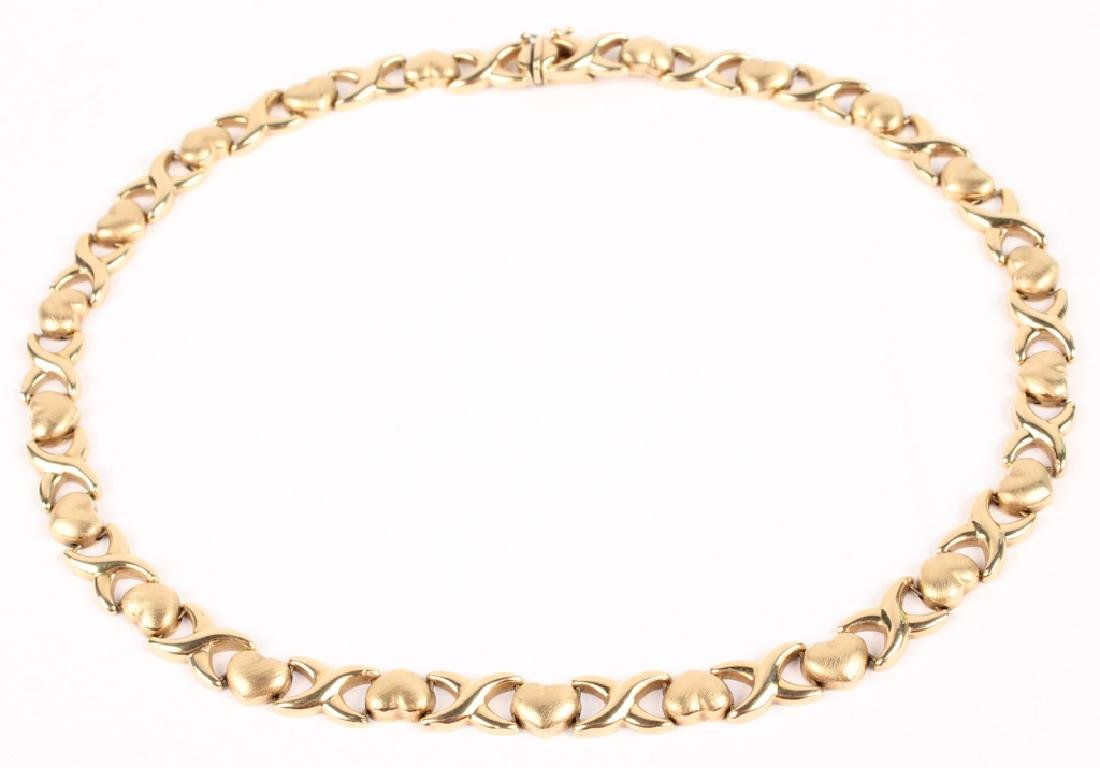 """LADIES 14K YELLOW GOLD """"X & O"""" HEART NECKLACE"""
