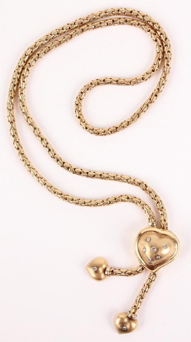 LADIES 14K YELLOW GOLD HEART SLIDE NECKLACE
