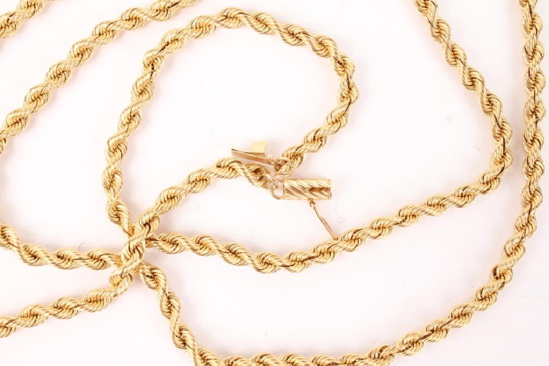 14K YELLOW GOLD TWISTED ROPE NECKLACE - 2