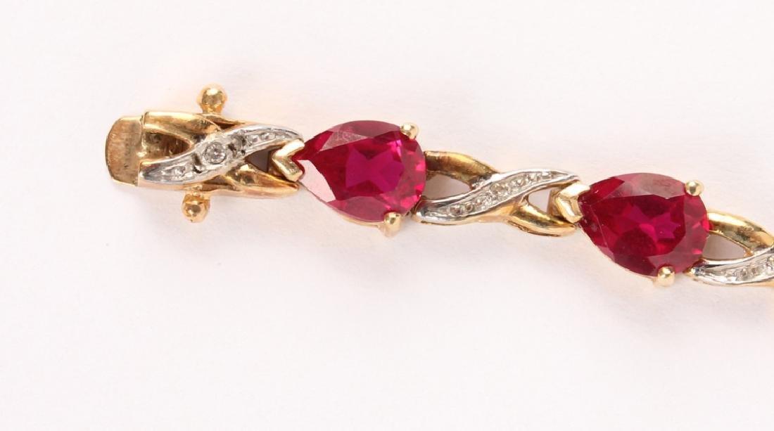 LADIES 10K YELLOW GOLD DIAMOND RUBY BRACELET - 3