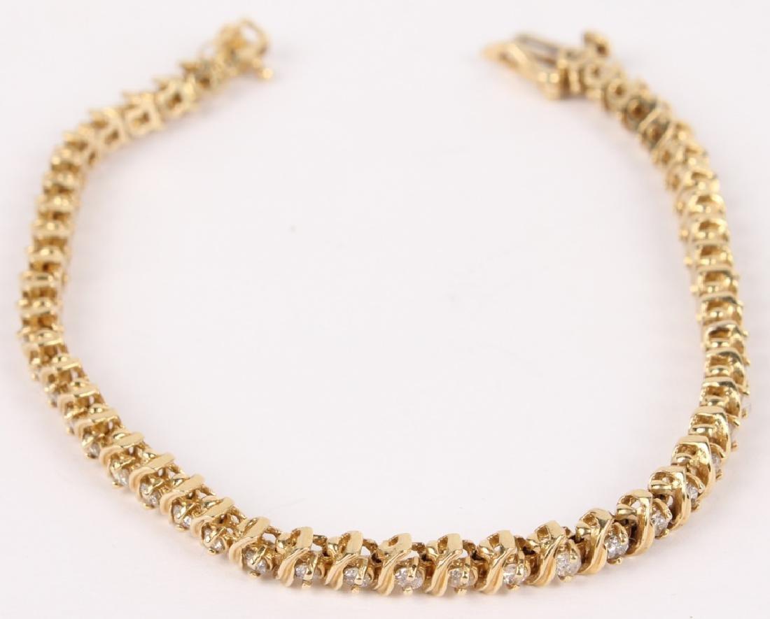 LADIES 14K YELLOW GOLD DIAMOND TENNIS BRACELET - 2
